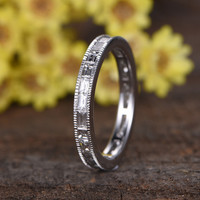 14k White Gold Diamond Wedding Band Anniversary Ring 2.2 Carat Baguette Cut Stone Channel Set Full Eternity Matching