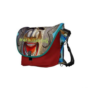 """Smile"" funny, laughing face photo messenger bag"