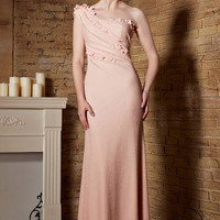 Blush Pink Grecian One Shoulder Long Formal Prom Pageant Evening Dress | CX882153