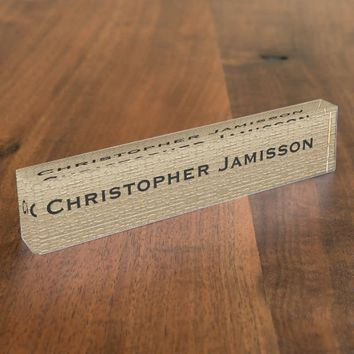 Acrylic Desk Nameplate, Gold and Black Nameplate