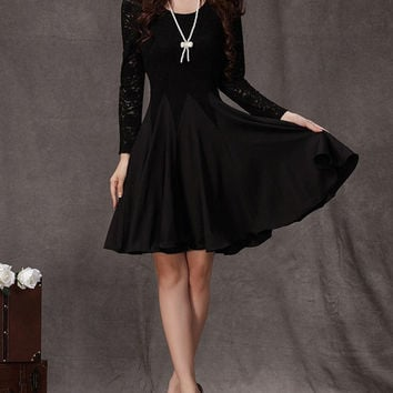 Long Sleeved Black Lace Chiffon Dress / Little Black Dress / Black Fit and Flare Dress