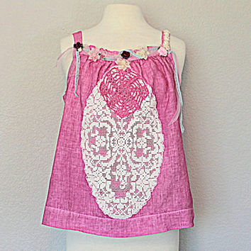 Summer Mori Girl Top Women's Sleeveless Romantic Shabby Irish Linen Shirt