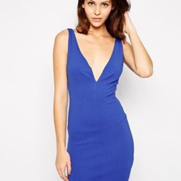Oh My Love Plunge Body-Conscious Dress with Side Strap Detail - Electr