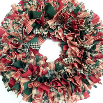 Small Rag Wreath Red Green Homespun Fabric Christmas Winter