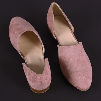 Qupid Suede Almond Toe Oxford Flat