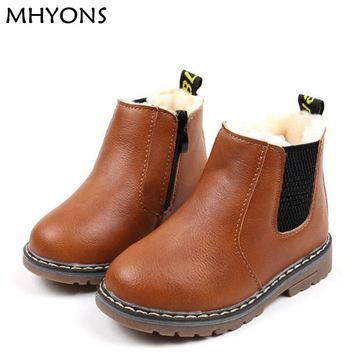 MHYONS 2017 Children Boots Boys Snow Waterproof Shoes Kids Leather Boots Boy Boots Girls Martin Warm Shoes Sport Shoes 21-30D