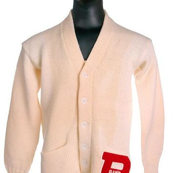 Vintage Mens  Letter Sweater Cream Knit Cardigan 1950s  Red Letter Band 42 Chest