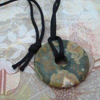 Rhyolite donut pendant nursing necklace black satin cord