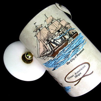 Ice Bucket Georges Briard Mid Century Nautical Great American Ships Retro Atomic Ice Chest Vintage Barware