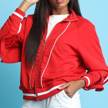 Ruffled Zip-Up Bomber Jacket