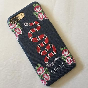 GUCCI iphone7 phone shell 7plus leather phone case iphone 7 printing leather case retro Red Snake