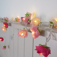 NEW Pretty in Pink Fairy Lights, Rambling Roses String Lights in Patisserie Pink, Blush and Hot Pink,  Garland Flower Lights 2015 Edition
