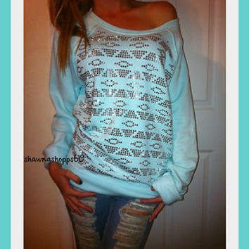 NWT*VICTORIA'S SECRET PINK SLOUCHY CREW SWEATSHIRT WITH STUDS OF BLING MINT L