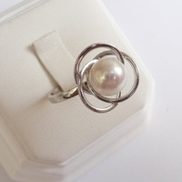 White gold pearl ring pearl engagement ring 8mm round smooth pearl ring womens ring