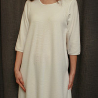 3/4 Sleeve 3/4 Length Nightgown Cotton/Poly Basket Weave Made In USA | Simple Pleasures, Inc.