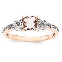 Sterling Silver Rose Gold-Plated Morganite & Diamond Ring