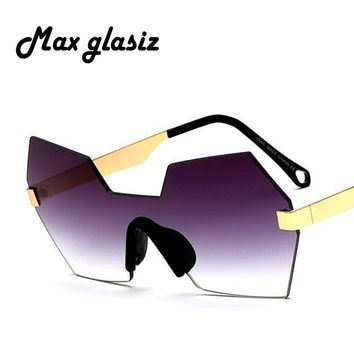 Max glasiz 2017 Vintage Rimless Sunglasses Women Luxury Metal Design Unisex Fashion Frame Brand Sun Glasses For Women