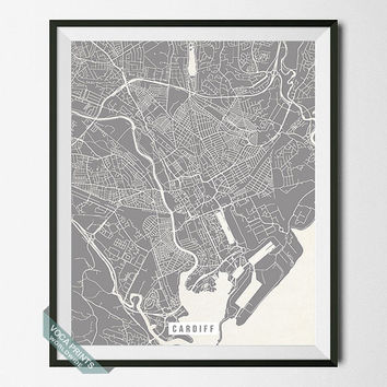 Cardiff Map Print, England Poster, Cardiff Street Map, England Print, Capital of Wales, United Kingdom, UK, Home Decor, Back To School
