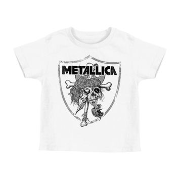 Metallica Boys' Pirate Childrens T-shirt White Rockabilia