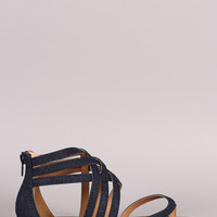 Qupid Strappy Denim Gladiator Thong Flat Sandal
