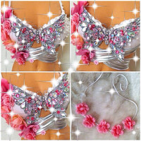 Reserved for Erica: Silver & Pink Butterfly Rave Bra