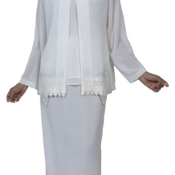 Hosanna 3970 - Modest Tea Length Plus Size Dress White Includes Jacket 3 Piece