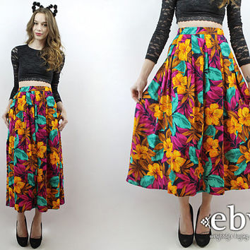 Plus Size Skirt Plus Size Vintage High Waisted Skirt High Waist Skirt Floral Midi Skirt Tropical Floral Skirt 90s Skirt Maxi Skirt 1X 2X
