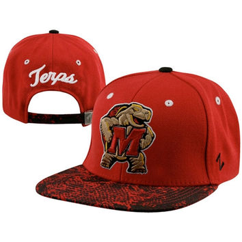 Maryland Terrapins Red/Black Snakeskin Strapback Adjustable Hat