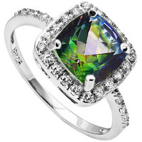 Rainbow Mystic Topaz and Created Sapphire Sterling Silver Ring