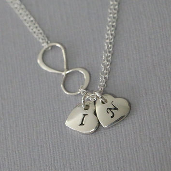 Custom Initial Infinity Necklace, Sterling Silver Double Heart Initial and Infinity Charm Necklace