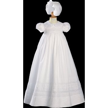 Floral Embroidered Cotton Traditional Long Handmade Christening Gown (Baby Girls Newborn - 12 months)
