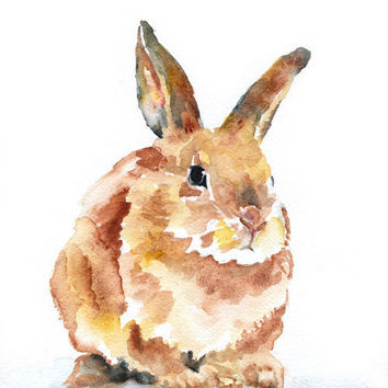 Watercolor Painting Bunny Rabbit Giclee Print 8x10