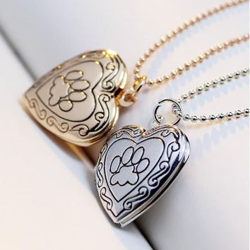 Valentine Lover Gift Animal Dog Paw Photo Frames Can Open Locket Heart Pendants fit Necklace Women