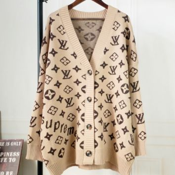 Louis Vuitton Fashion New LV  Letter Print V-Neck Sweater Women Long Cardigan Sweater Loose  Coat Khaki