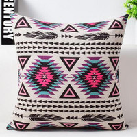 Free Shipping Modern Bohemia Ethnic Warm Color Geometric Printing Linen Decorative Pillow Cushion For Home Accessories