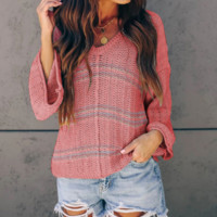 Autumn sexy print V-neck stitching long-sleeved sweater solid color trumpet sleeve sweater female
