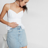 Slim Distressed A-Line Denim Mini Skirt
