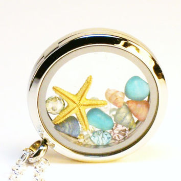 Glass Locket Necklace ~ Starfish, Sea Shells, Crystals ~ Beach Jewelry