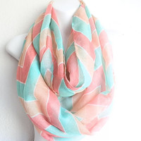 Coral and Mint Chevron Scarfs, Chevron Infinity Scarf, Chevron Scarves, Scarfs, Infinity Scarfs, Mint, Coral chevron, Mothers day gift