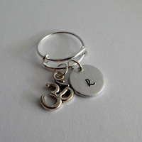 Choose Your Own Charm Personalized Hand Stamped Bangle Ring with Initial / OM / Apple / Baby Feet / Sand Dollar / Seashell / Star Fish