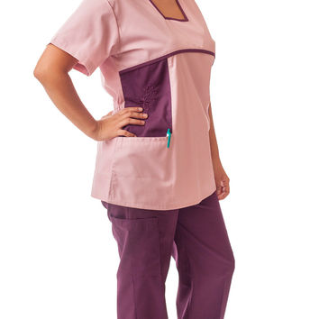 Women's Designer Two Toned Embroidered Uniform Scrubs