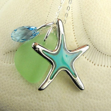 Sea Glass Necklace - Mood Ring Starfish On Sea Foam Sea Glass