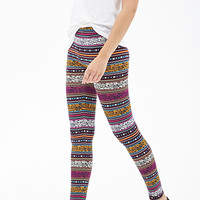 FOREVER 21 Mixed Tribal Print Leggings Navy/Multi