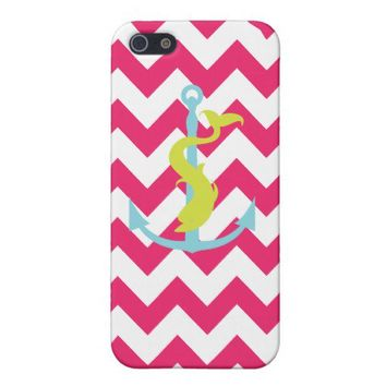 Pink Chevron Anchor Dolphin Iphone 5 Case from Zazzle.com