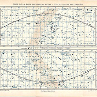 Constellations Map of the Equatorial Zone, Astronomy, Star Chart, Celestial Sphere 1920s