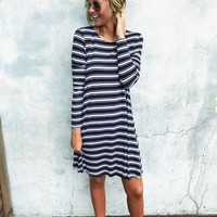 Jocelyn Jersey Dress - Black Stripe