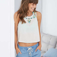 Aerie Embroidered Tank , Soft Muslin