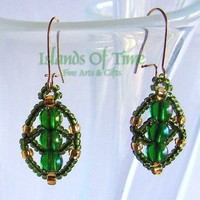 Emerald Green Gold Beaded Oval Earrings Handmade Fashion Accessory