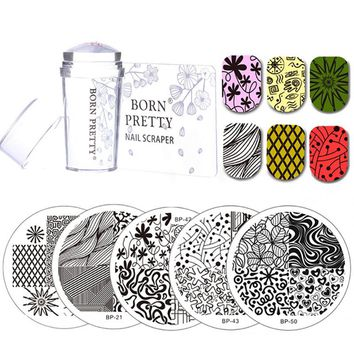 BORN PRETTY 5 Pcs Nail Round Stamping Plates Set with Clear Jelly Stamper Scrapper Geometrical Lines Nail Art Image Plate Kit