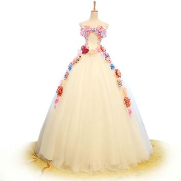 3D Floral Appliques Wedding Dress White Tulle Strapless Bridal Gown Ball Gowns Wedding